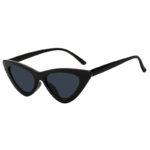 Retro Vintage Cat Eye Narrow Sunglasses Smoke Lens Goggles Black Plastic Frame