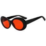 oval plastic Retro Oval Goggles Thick Plastic Black Frame Round Lens Sunglasses Orange