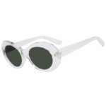 Retro Oval Goggles Thick Plastic Clear Frame Round Lens Sunglasses Smoke
