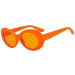Retro Oval Goggles Thick Plastic Frame Round Lens Sunglasses Orange