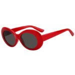 Retro Oval Goggles Thick Plastic Red Frame Round Lens Sunglasses Smoke