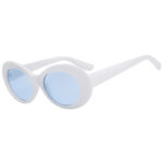 Retro Oval Goggles Thick Plastic White Frame Round Lens Sunglasses Blue