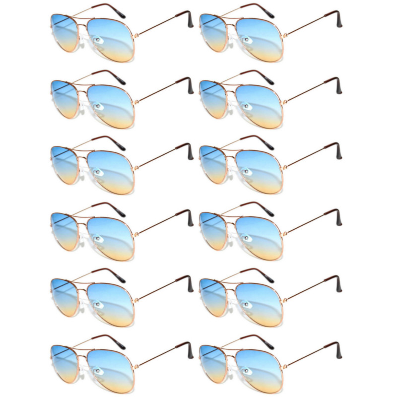 Case of 12 Pairs Aviator Sunglasses Two Tone Blue Yellow Lens Gold Metal Frame