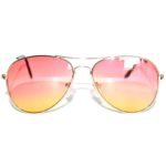 Case of 12 Pairs Aviator Sunglasses 2 Tone Pink Yellow Lens Gold Metal Frame