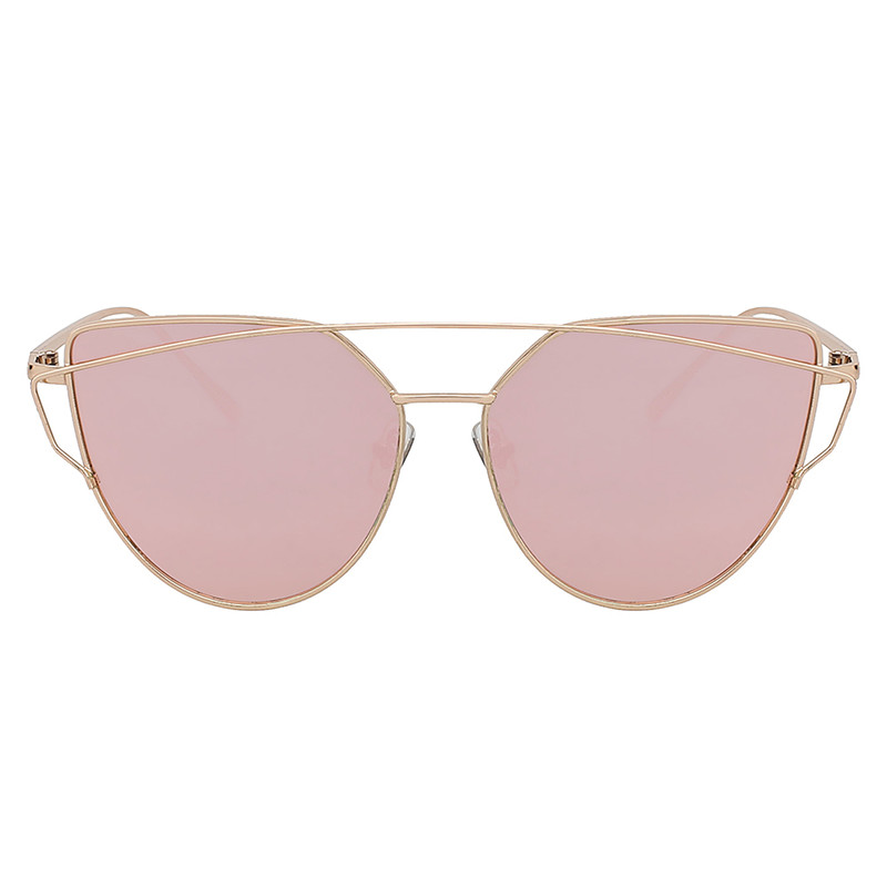 Gold Large Cat Eye Metal Twin Beam Frame Sunglasses Flat Mirror Rose Lens