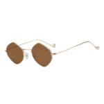 Women Polygon Shape Vintage Brown Lens Sunglasses Gold Metal Frame