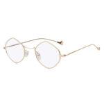 Women Polygon Shape Vintage Clear Lens Sunglasses Gold Metal Frame