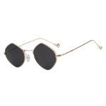 Women Polygon Shape Fashion Smoke Lens Sunglasses Gold Metal Frame