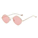 Women Polygon Shape Vintage Pink Lens Sunglasses Gold Metal Frame
