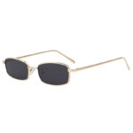 Steampunk Vintage Rectangular Gold Metal Frame Sunglasses Smoke Lens Shades