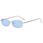 Fashion Vintage Rectangular Silver Metal Frame Sunglasses Blue Lens Shades