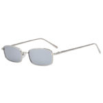 Steampunk Vintage Rectangular Silver Metal Frame Sunglasses Mirror Lens Shades