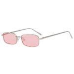 Steampunk Vintage Rectangular Silver Metal Frame Sunglasses Pink Lens Shades