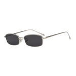 Stylish Vintage Rectangular Silver Metal Frame Sunglasses Smoke Lens Shades