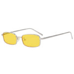 Fashion Vintage Rectangular Silver Metal Frame Sunglasses Yellow Lens Shades