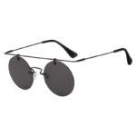 Vintage Round Brow Bar Smoke Lens Sunglasses Black Metal Frame