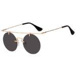 Vintage Round Brow Bar Sunglasses Gold Metal Frame Smoke Lens Shades