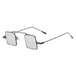 Vintage Square Small Black Metal Frame Sunglasses Mirror Lens Shades