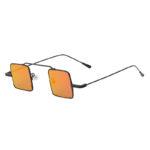 Ladies Vintage Square Small Black Metal Frame Sunglasses Pink Lens Shades