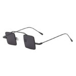 Men Vintage Square Small Black Metal Frame Sunglasses Smoke Lens Shades