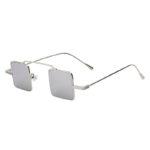 Men Women Vintage Square Small Silver Metal Frame Sunglasses Mirror Lens Shades