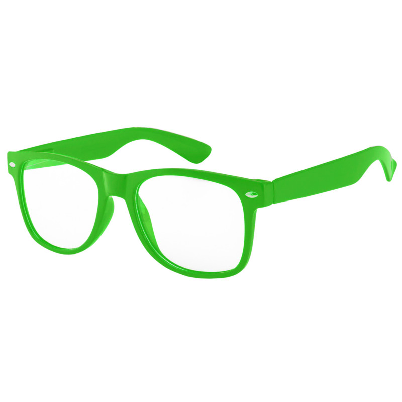 Case of 12 Pack Kids Clear Lens Green Glasses Protect Child's Eyes