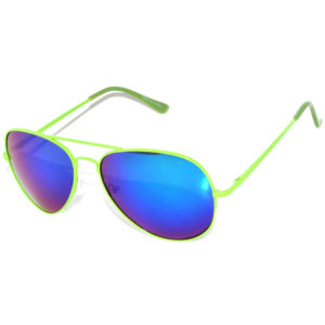 aviator spring hinge green metal mirror lens