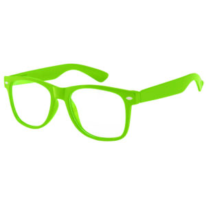 Green frame sunglasses with clear lens