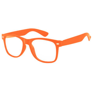 Orange frame sunglasses with clear lens